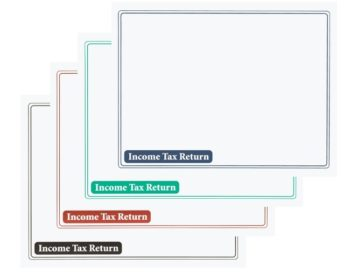 Income Tax Return Envelopes without Windows, in blue, green, burgundy and black printing - ZBPforms.com