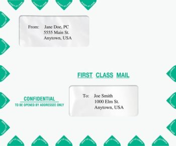 Large Window Envelope in Landscape (Horizontal) Format with First Class Mail Graphics PEM13 - ZBP Forms