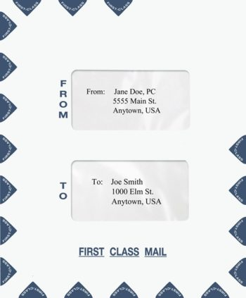 First Class Mail Envelope, Portrait Style with 2 Windows in the Center Blue PEO15 - ZBP Forms