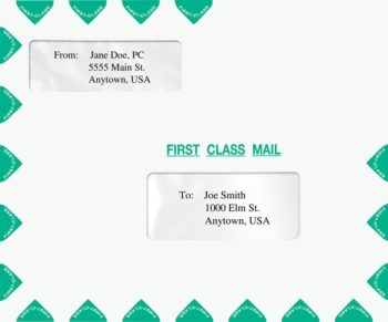 First Class Envelope Landscape Style with 2 Windows, Green PEP16 - ZBP Forms