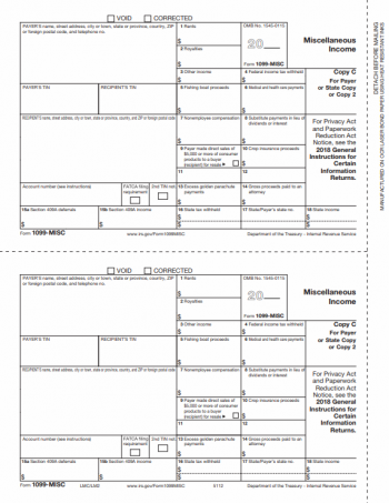 1099MISC Form Copy C / 2 for Payer or State - ZBPforms.com