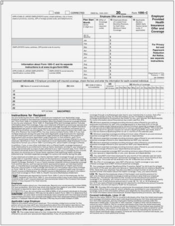 ACA Form 1095C Half Page with Instructions - ZBP Forms