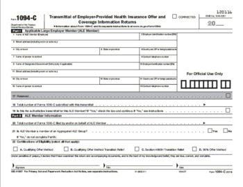 ACA Form 1094-C Transmittal for 1095B Forms - ZBPForms.com