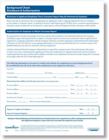 Background check forms from ComplyRight - ZBP Forms