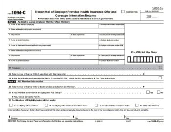 ACA Form 1094-C Transmittal for 1095B Forms - ZBPForms.com
