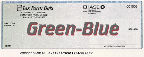 Business Checks Green-Blue Prismatic Color - ZBPForms.com