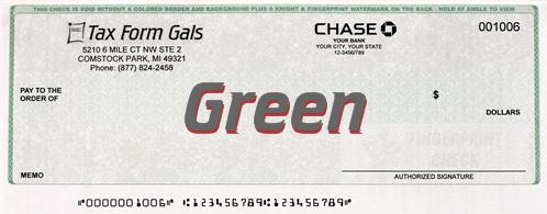 Business Checks Green Color - ZBPForms.com